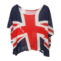 Dark-blue The Union Flag Print Loose Tshirt ($30) ❤ liked on Polyvore featuring tops, t-shirts, shirts, blusas, scoop neck tee, red shirt, t shirts, modal t shirt and red crop top