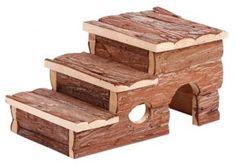 Schickes Nagerhaus Stairs, dass zugleich als Treppe dient. Das aus unbehandeltem Rindenholz handgefertigte Häusschen bietet tolle Möglichkeiten zum klettern, spielen und ausruhen.
