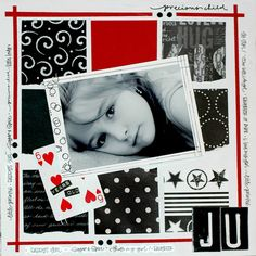 red white black - great color combo and the playing card is the perfect embellishment for the b&w photo.