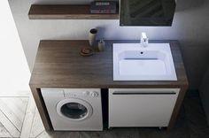 Mobile porta lavatrice Laundry Bathroom Combo, Laundry Room Design, Bathroom Design Small, Bathroom Layout, Bathroom Interior Design, Bathroom Organisation, Bathroom Storage, Outdoor Laundry Rooms, Drying Room