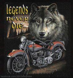 Legends Never Die Wolf Spirit Motorcycle Biker Chopper T-Shirt Tee Harley Davidson Kunst, Harley Davidson Tattoos, Harley Davidson Pictures, Harley Davidson Wallpaper, Harley Davidson T Shirts, Harley Davidson Motorcycles, Eagles, David Mann Art, Harley Dealer