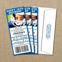 Cody's 30th :) Football Birthday Game Ticket Invitation by PerchedOwl on Etsy, $15.00 Birthday Themes For Boys, Birthday Games, 10th Birthday, Birthday Ideas, Free Football, Football Ticket, Basketball Tickets, Ticket Invitation, Printable Birthday Invitations