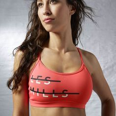 Reebok LES MILLS Strappy Bra - Pink | Reebok US Cute Workout Clothes | SHOP @ FitnessApparelExpress.com