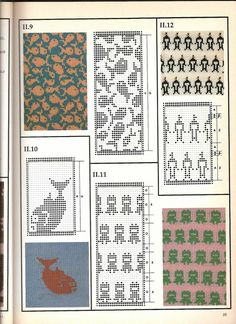 Colorful Machine Knitting Patterns - it's like Kaffe Fassett pattern book - page after page of colorwork charts - these are for machine knitting, so there's no consideration for runs etc. Knitting Machine Patterns, Fair Isle Knitting Patterns, Knitting Charts, Knitting Designs, Knitting Stitches, Fair Isle Pattern, Filet Crochet, Crochet Chart, Vogue Knitting