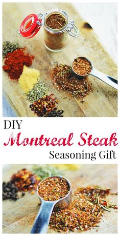 Steak Seasoning A spiced up Montreal Steak seasoning makes the perfect DIY hostess gift or stocking stuffer.A spiced up Montreal Steak seasoning makes the perfect DIY hostess gift or stocking stuffer. Homemade Spice Blends, Homemade Spices, Homemade Seasonings, Spice Mixes, Homemade Recipe, Homemade Food, Diy Food, Rub Recipes, Cooking Recipes