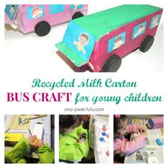 Recycled Milk Carton Bus Craft for young children. Bus Craft for toddlers.