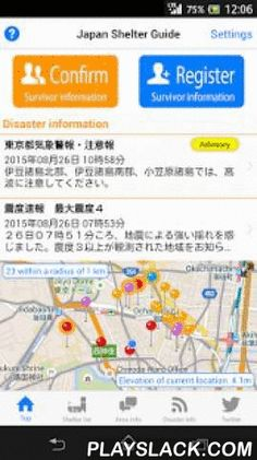 Japan Shelter Guide  Android App - playslack.com ,  Japan Shelter Guide is an app for searching for disaster evacuation shelters in Japan and showing you routes to them.You can use it to check routes before traveling to Japan for business or pleasure.Main Functions- Searches for evacuation shelter(s) near the current location (in Japan).- Disaster information will also be distributed (in Japanese).- Upon launching the app, evacuation shelters near the current location and their maps are…