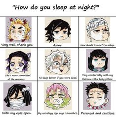 𝐊𝐢𝐦𝐞𝐭𝐬𝐮 𝐍𝐨 𝐘𝐚𝐢𝐛𝐚 {𝐌𝐞𝐦𝐞𝐬} 𝐄𝐧𝐠𝐥𝐢𝐬𝐡 - How does the Pillars sleep? Anime Meme, Manga Anime, Funny Anime Pics, Otaku Anime, Anime Art, Slayer Meme, Dragon Slayer, Animes Wallpapers, Haikyuu