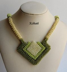 Green Seed Bead Necklace, Statement Beadwork Necklace, CRAW, Women's Beadwoven Jewelry, Original High Fashion Jewelry, Unique Gift, OOAK