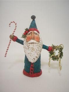 Blue Primitive Paper Mache Folk Art Santa by papiermoonprimitives, $50.00