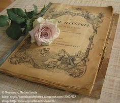 Antique French fashion journal, 1891, with rose © Rozmeen (Photographer, Netherlands). Blog:   http://pastelsandwhites.blogspot.com/2010/12/  ... Caption crediting the artist required by copyright law.