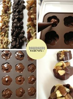 Excellent simple ideas for your inspiration Chocolate Sweets, Chocolate Fondant, Chocolate Bark, Chocolate Gifts, How To Make Chocolate, Homemade Chocolate, Chocolate Recipes, Logo Doce, Yummy Treats