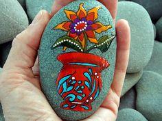 Red Vase, Happy Flower / Painted Rock / Sandi PIke Foundas / Cape Cod Sea Stone