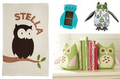 DIY owl book ends- put sand in bottoms to weigh them down. Great way to save the 30 bucks that Target wants for them! Owl Themed Nursery, Nursery Room, Nursery Ideas, Room Ideas, Fabric Owls, Owl Blanket, Owl Books, Removable Vinyl Wall Decals, Babies R