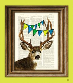 The Deer is Pleased to See You Deer with Bunting by collageOrama, $7.99   My brother would have loved this