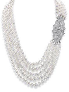 A cultured pearl and diamond necklace The five graduated rows of cultured pearls to a lozenge-shaped clasp of pierced symmetrical design set with brilliant, marquise, square and baguette-cut diamonds, diamonds approximately carats total, length Pearl Necklace Designs, Pearl And Diamond Necklace, Heart Locket Necklace, Pearl Jewelry, Diamond Pendant, Jewelry Necklaces, Fine Jewelry, Jewellery, Art Nouveau