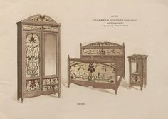Chambres à coucher & salles à manger / Maxime Clair. 1901. Metropolitan Museum of Art, New York. Thomas J. Watson Library. Trade Catalogs. #furniture #marquetry #tradecatalog | The beautiful flowers on this bedroom furniture set can remind you of Spring even in the depths of Winter.