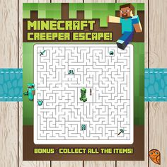 Printable Minecraft Maze Game Creeper Escape by BrightOwlCreatives, $3.00