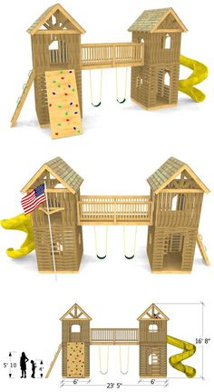 Twin Peaks Play-set Plan, do something like th. Twin Peaks Play-set Plan, do something like this between the shed and the fort Backyard Swing Sets, Backyard Playhouse, Build A Playhouse, Backyard For Kids, Backyard Fort, Swing Set Plans, Play Set Plans, Deck Plans, Home Gym Decor