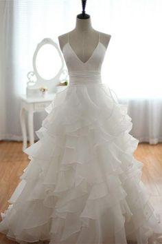 Elegant Spaghetti Straps Long V-neck White Backless Wedding Dresses W20