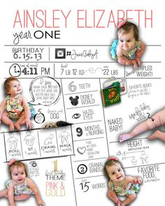 What a beautiful way to document your babys first year in review! This infographic birthday poster showcases your child in an all about me format