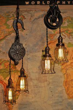 Rustic Light Fixtures, Rustic Lighting, Home Lighting, Rustic Decor, Farmhouse Decor, Edison Lampe, Pulley Light, Rustic Bathroom Designs, Rustic Furniture