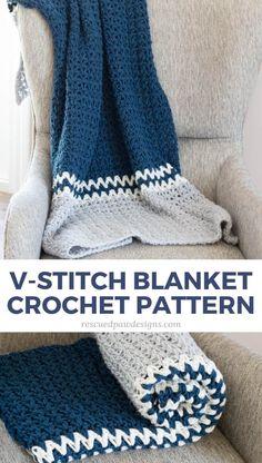 63abcc2434f33 Easy V-Stitch Crochet Blanket Pattern