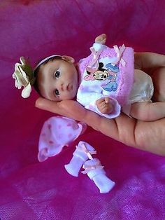 OOAK polymer clay baby girl, hand sculpted, Art Doll, miniature baby