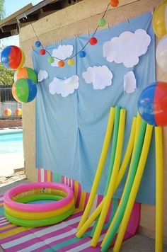 Beach ball birthday party backdrop!  See more party planning ideas at CatchMyParty.com!
