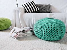 Aqua Nursery Footstool Ottoman Pouf - Tiffany Nursery Furniture Decor - Crochet Floor Cushions -Kids Furniture Knit Bean Bag Chair- New Born