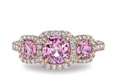 Omi Privé Three-Stone Pink Sapphire and Diamond Halo Ring - in 18kt Rose Gold (0.39 CTW) - Rs1060 c psrd rg