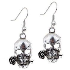 Antique Finish Skull with Rose Silvertone Earrings