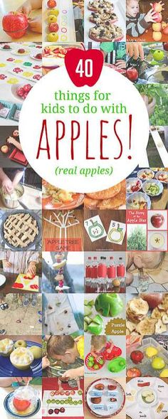Trying to find things for kids to with apples? Here are 40 apple activities for kids using real apples! Experiment, dissect and eat apples! Preschool Apple Theme, Apple Activities, Autumn Activities For Kids, Fall Preschool, Toddler Preschool, Toddler Activities, Preschool Activities, Crafts For Kids, September Preschool