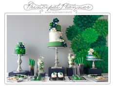 Since the venue is now the historic Courthouse on the square, not a more casual place, I changed our colors to Navy and kelly green. I like this tableau for a wedding dessert table.