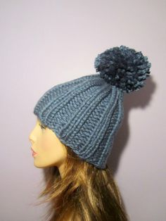 02017f20400 Denim Blue or Pick Your Color Hand Knit Warm Knit by UpNorthKnits. Darci  Ricker · Knit Hats