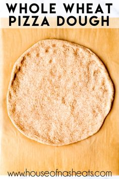 Feb 2020 - This Whole Wheat Pizza Dough recipe makes a pizza crust that is crispy around the edges and slightly chewy in the middle, just like we like it! Wheat Pizza Base Recipe, Healthy Pizza Dough, Healthy Food, Healthy Meals, Healthy Recipes, Pizza Dough Whole Wheat, Recipes With Yeast, Pizza Recipes, Bread Recipes