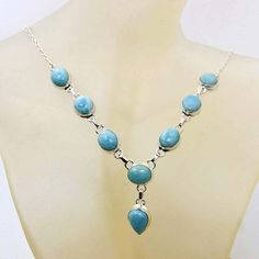 Natural Dominican Larimar Necklace & .925 by TheSilverPlaza