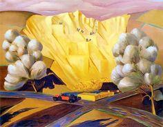 Rafal Malczewski 'Auto na tle pejzażu zimowego' 1930 & 'Kamieniolom' 1927. (Malczewski (1892-1965) joined the Podhale Arts Society, which promoted the idea of seeking out foundations for Polish art in...