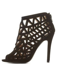 Qupid Laser Cut-Out Caged Booties: Charlotte Russe  #CRshoecloset #heels