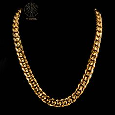 VCOOL hip hop chains men jewelry wholesale yellow gold color thick stainless steel long big chunky rock luxurious necklace VN024