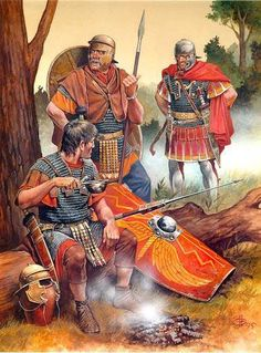 Soldiers having a brew. Early 1st century CE. Legionary (sitting), auxiliary (standing right behind him) and an officer (furthest away and looking none too pleased at this impromptu coffee break).