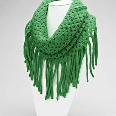 Green Fringe Scarf Fringe knitted infinity scarf. Accessories Scarves & Wraps