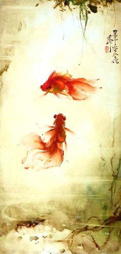 翠竹有鱼 Chinese Silk Scroll Painting Fish Home Office Decoration