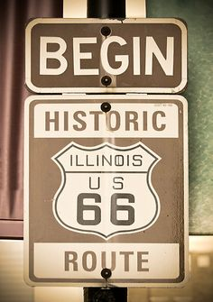 USA. Illinois. Chicago. Beginning of Route 66 sign.  This is where your journey West begins.  Have a great roadtrip!  Traveled Rte 66 soooo many times ~ what memories!