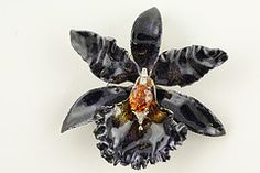 Black Orchid brooch, sterling silver, enamel, purple diamonds and citrine by Russell Trusso