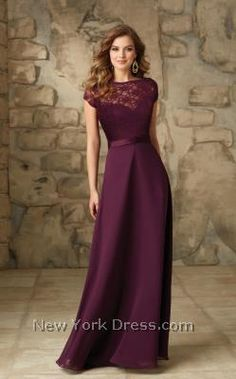 Your crew will look flawless in this chic evening gown from Mori Lee 101 Bridesmaids. This dress has cap sleeves and lace fabric throughout the upper portion and