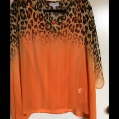 Scarf blouse. 20% off 3+ Orange sheer.  Tank top. Never worn. Scarf like top. Susan Graver Tops Blouses