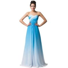 A Line Chiffon Long Elegant Ombre Evening Gown