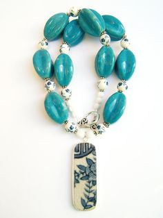 Pottery Shard Necklace, Blue & White Statement Jewelry by polishedtwo, $30.00