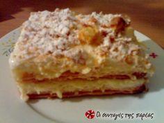 Το μιλφέιγ της Γεωργίας Greek Sweets, Greek Desserts, Middle Eastern Desserts, Custard, Delish, Sweet Treats, Cheesecake, Cooking Recipes, Pie